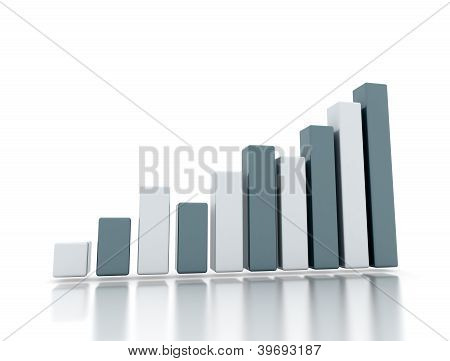 Business Growth 3D Rising Graph