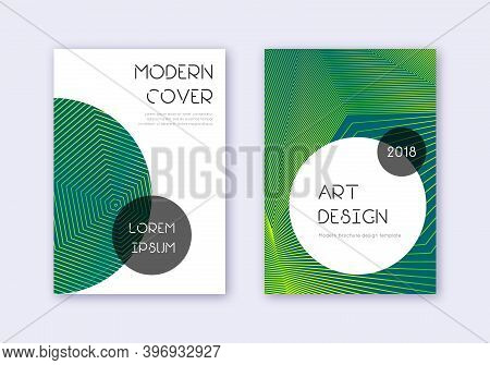 Trendy Cover Design Template Set. Green Abstract Lines On Dark Background. Gorgeous Cover Design. Im
