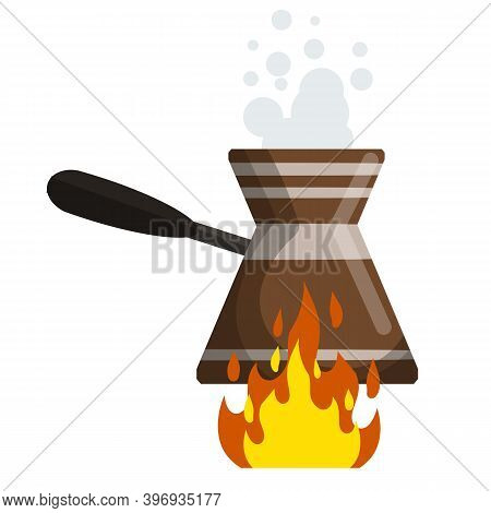 Preparation Of Turkish Coffee On Fire. Strong Drink With Caffeine. Eastern Kitchen. Cartoon Flat Ill