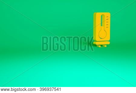 Orange Meteorology Thermometer Measuring Heat And Cold Icon Isolated On Green Background. Thermomete