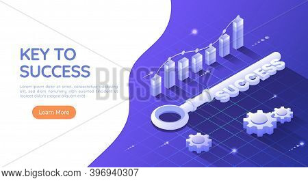 3d Isometric Web Banner Key To Success On Blue Background With Graph And Gear. Key To Success And Bu