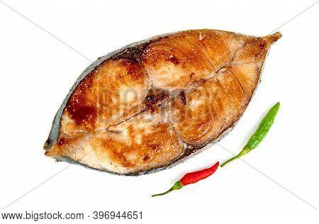 King Mackerel Or Spotted Mackerels Steak Isolated On White Background ,fried Scomberomorus Fish