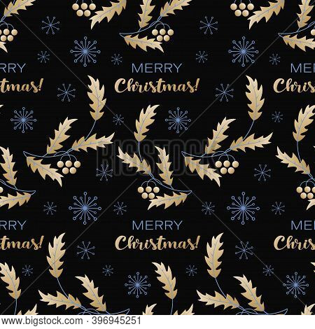 Golden Holly. Merry Christmas. Vector Holiday Background With Holly Leaves And Berries, Snowflakes