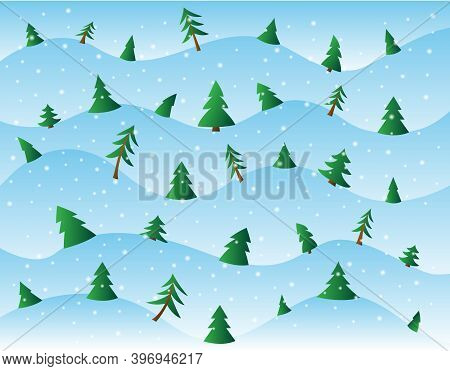 Winter Landscape Of Pine And Fir Trees On Snowy Hills