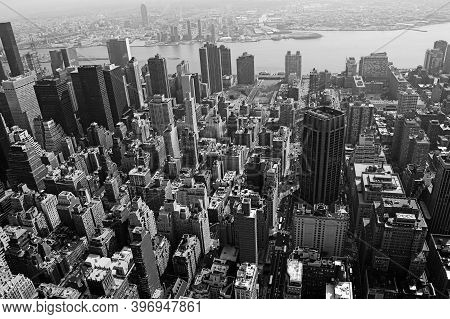 Aerial View Of The City Of Manhattan, The Hudson River And Brooklyn, Photographed From The Top Of Th