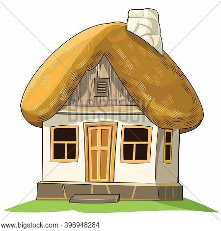 Old House With A Thatched Roof. Fabulous Cartoon Object. Cute Childish Style. An Ancient Dwelling. T