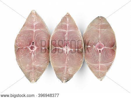 Spanish Mackerel Slice Or Spotted Mackerels Isolated On White Background ,include Clipping Path ,sco