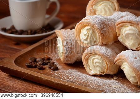 Elegant French Cream Horn Pastries. Delicious Cream Horns Filled With Vanilla Cream