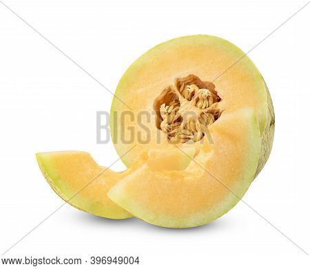 Orange Cantaloupe Melon Fruit Sliced Isolated On White Background ,include Clipping Path
