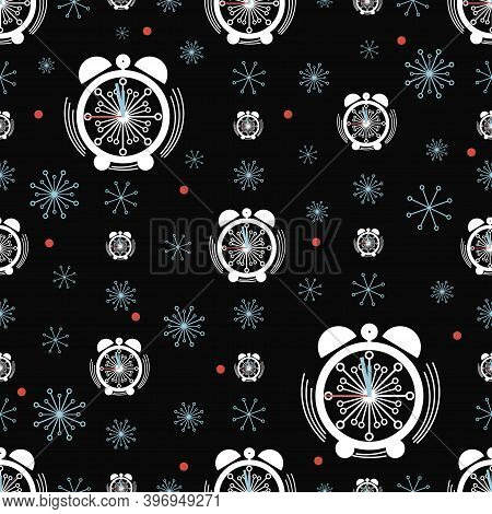 New Years Time. Alarm Clock. Vector Winter Background. Clock Face Pattern With Snowflakes.