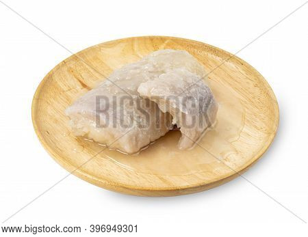 Taro In Syrup With Wooden Dish Isolated On White Background ,thai Dessert, ,include Clipping Path