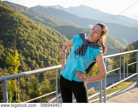 Morning Warm-up Outdoors, Young Athlete Doing Exercises, Healthy Lifestyle. Portrait On A Sunrise In