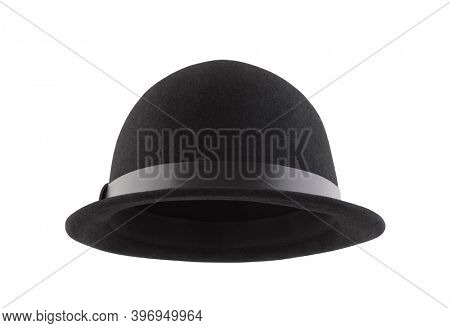 Black bowler hat isolated on white background with clipping path
