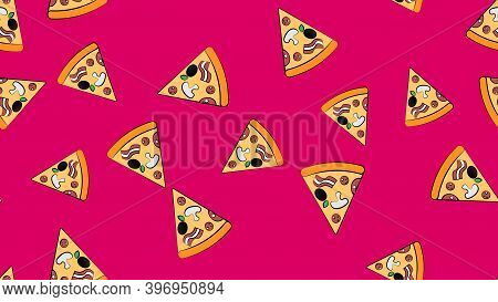 Slice Of Pizza On A Pink Background, Vector Illustration, Pattern. Appetizing, Tasty Pizza With A Va