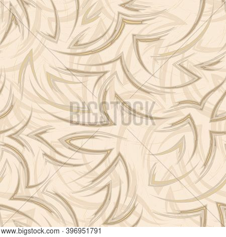 Vector Seamless Pattern Of Flowing Lines And Corners Of Tones Set Sail Champagne. Water Or Flow Text