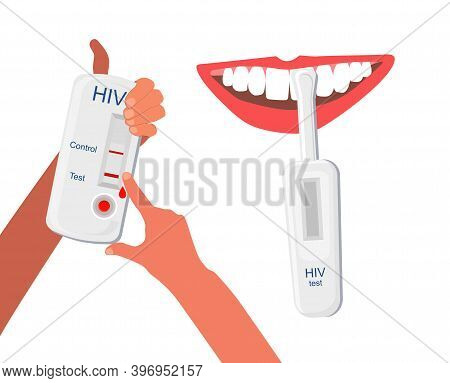 Express Hiv Self-test Kit Illustration With Human Mouth.hands Holding Medical Equipment And Analysin