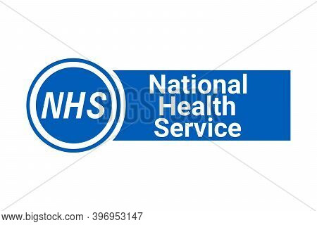 Nhs, National Health Service Sign With A White Background