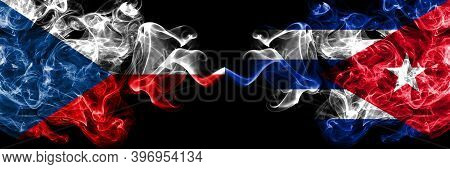 Czech Republic, Czech Vs Cuba, Cuban Smoky Mystic Flags Placed Side By Side. Thick Colored Silky Abs