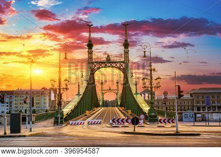 Liberty Bridge In Budapest At Sunrise, Hungary