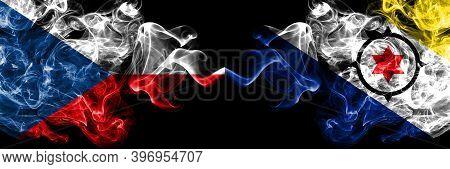Czech Republic, Czech Vs Netherlands, Dutch, Holland, Bonaire Smoky Mystic Flags Placed Side By Side