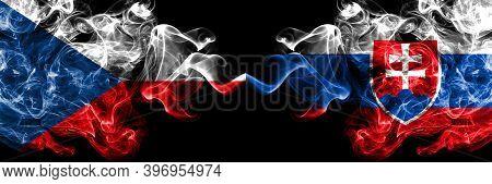 Czech Republic, Czech Vs Slovakia, Slovakian Smoky Mystic Flags Placed Side By Side. Thick Colored S