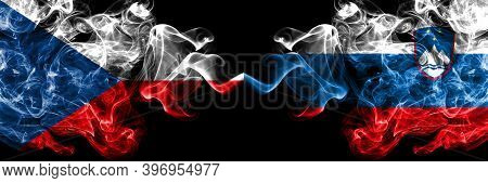 Czech Republic, Czech Vs Slovenia, Slovenian Smoky Mystic Flags Placed Side By Side. Thick Colored S