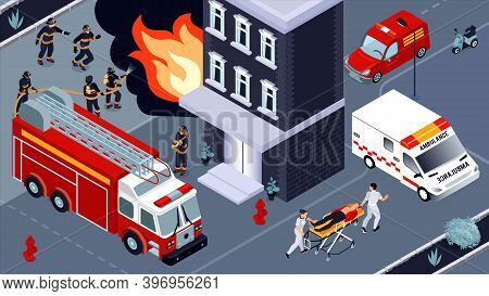Firefighting Isometric Vector Illustration With Brigades Of Firefighters And Ambulance Service Engag
