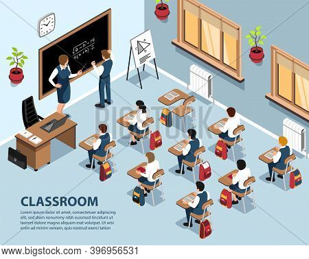 Isometric School Background With Indoor Scenery Pupils Sitting At Desks And Teacher Solving Exercise