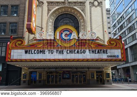 Chicago, Il April 10, 2020, Chicago Theater Marquee Sign During The Day Under A Clear Sky
