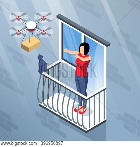Isometric Drone Composition With View Of Building Wall Balcony And Quadcopter Delivering Parcel To F
