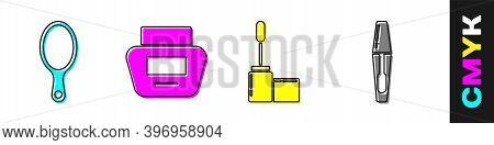 Set Hand Mirror, Cream Or Lotion Cosmetic Tube, Mascara Brush And Mascara Brush Icon. Vector