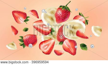 Flying Slices Of Banana And Strawberries And Water Droplets.