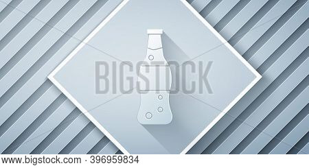 Paper Cut Bottle Of Water Icon Isolated On Grey Background. Soda Aqua Drink Sign. Paper Art Style. V