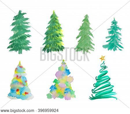 Water Color Hand Painting Illustration Of Christmas Tree On White Background With Clipping Path, Set
