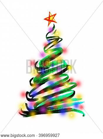 Water Color Hand Painting Illustration Of Christmas Tree Decorated With Colorful Lighting And Star O