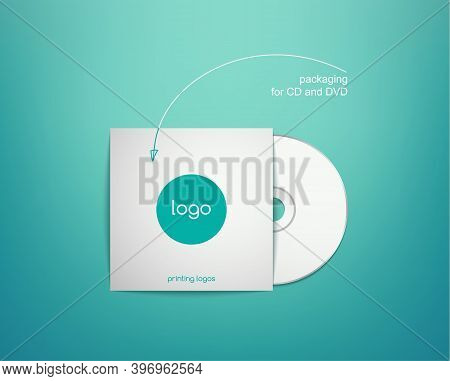 White Packaging Cd, Dvd Disc On A Turquoise Background. Realistic Vector Illustration Of Cardboard C