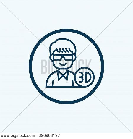 3d Glasses Icon Isolated On White Background From Outdoor Activities Collection. 3d Glasses Icon Tre