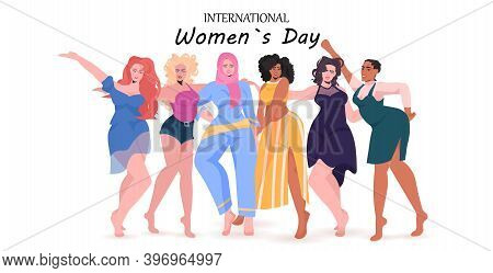Mix Race Girls Standing Together Female Empowerment Movement Union Of Feminists Womens Day Concept H