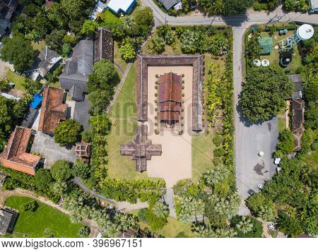 High Angle Top View Of Wat Inthrawat Temple Is One Of The Finest Examples Of Classic Lanna Style Arc