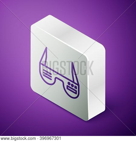 Isometric Line Smart Glasses Mounted On Spectacles Icon Isolated On Purple Background. Wearable Elec