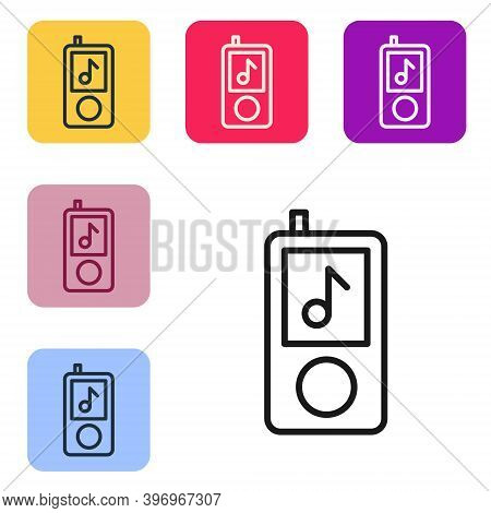 Black Line Music Player Icon Isolated On White Background. Portable Music Device. Set Icons In Color