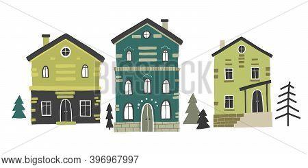 Cute House Street Vector Drawing, Cartoon Cute