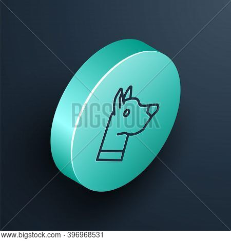 Isometric Line Dog Head Icon Isolated On Black Background. Turquoise Circle Button. Vector
