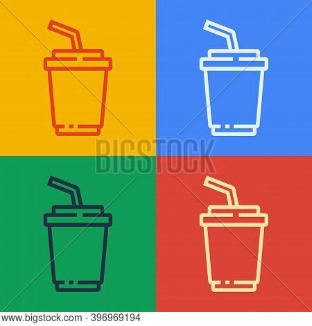 Pop Art Line Paper Glass With Drinking Straw And Water Icon Isolated On Color Background. Soda Drink