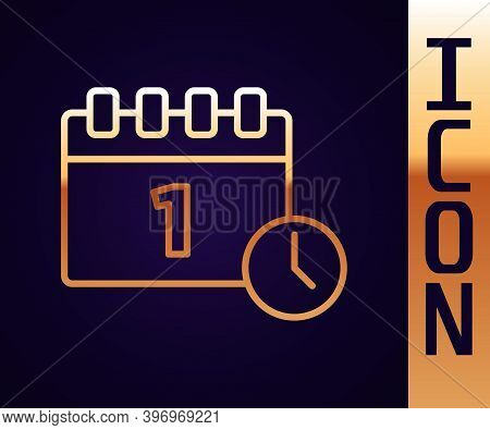 Gold Line Calendar With First September Date Icon Isolated On Black Background. September 1. Date An