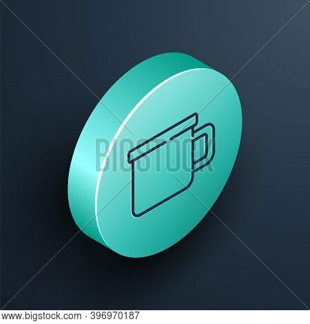 Isometric Line Camping Metal Mug Icon Isolated On Black Background. Turquoise Circle Button. Vector
