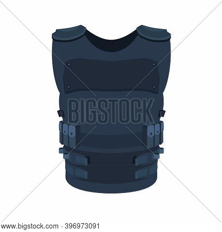 Illustration Of Single Object Isolated On White. Flat Art Of A Police Vest Basic And Individual Prot