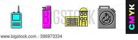 Set Walkie Talkie, Lighter, Building Of Fire Station And Canister For Flammable Liquids Icon. Vector
