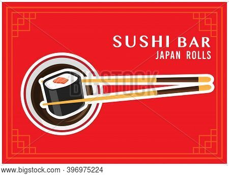 Chopsticks With Sushi Roll, Vector Chopsticks Holding Sushi Roll