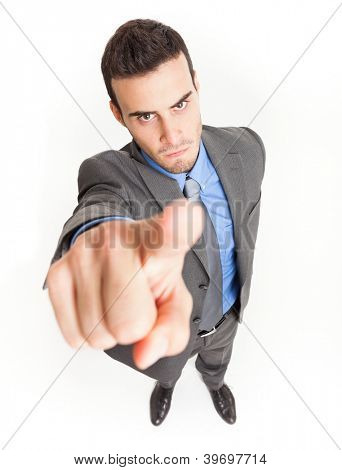 Angry businessman accusing you